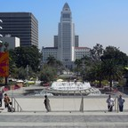 Los Angeles City Hall, as seen from refurbished Grand Park