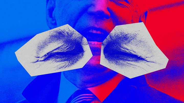 An illustration of two closed eyes and Joe Biden