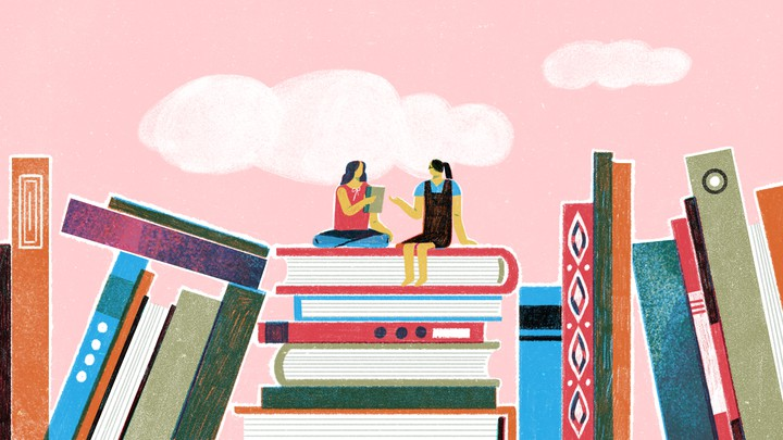 An illustration of two girls sitting on top of a giant stack of books.