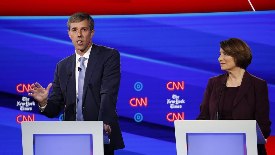 Beto O'Rourke speaks during the October 15 Democratic primary debate.