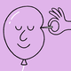 illustration: a needle not popping a smiling balloon