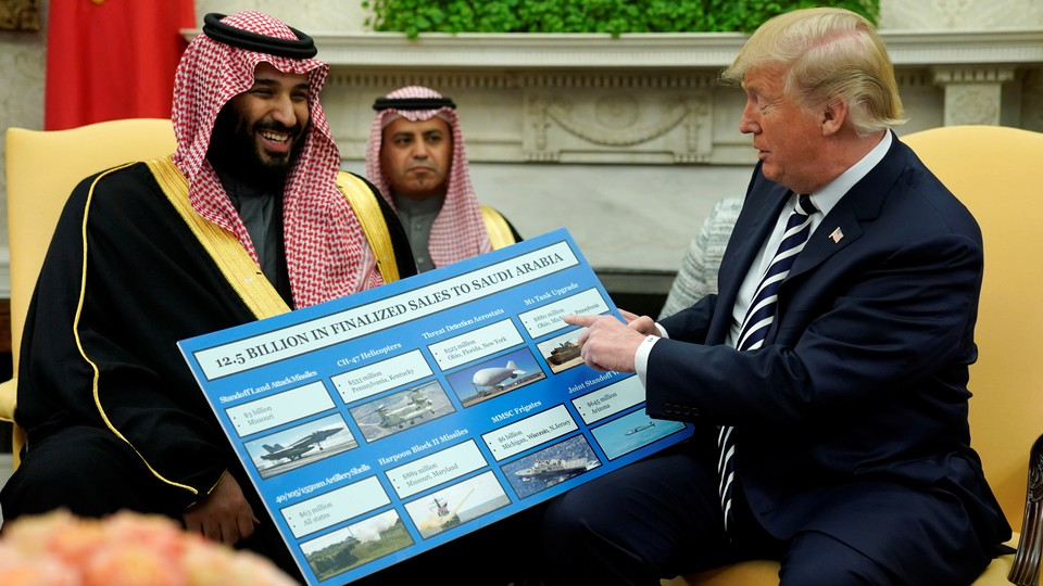 Trump and Saudi Crown Prince Mohammed bin Salman discuss American arms sales to Saudi Arabia at a meeting at the White House in March.