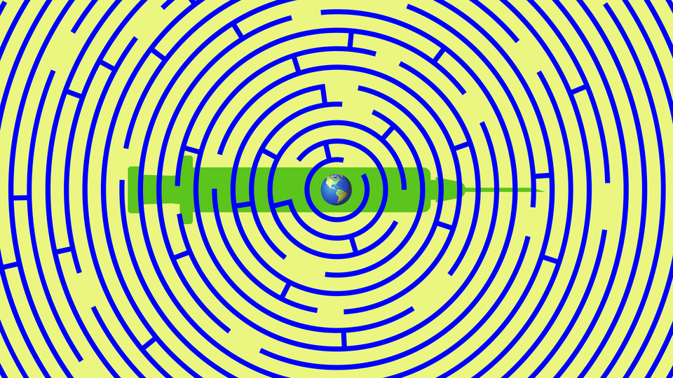 A circular maze with the Earth in the center, all superimposed on the outline of a syringe