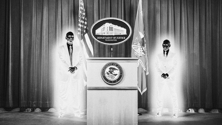 An illustration of two men in glowing suits standing near a Department of Justice lectern