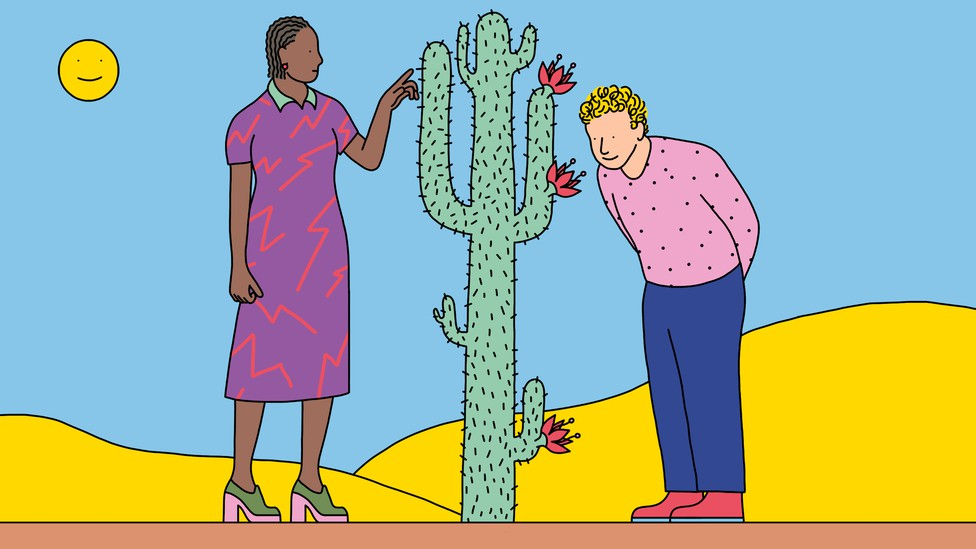 One person touches the needles of a cactus while another smells the cactus flowers.