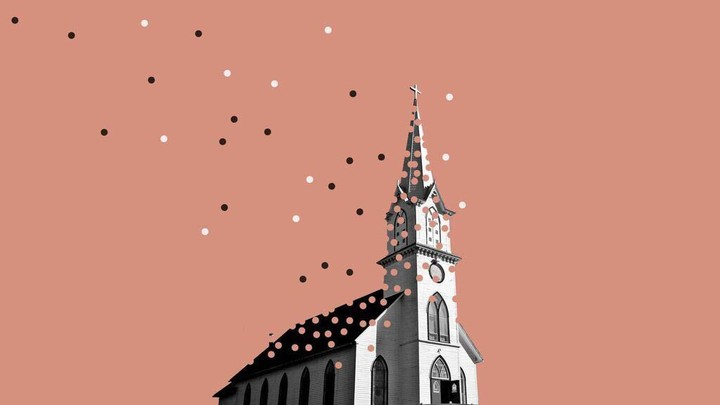 An illustration of a church with pieces floating away