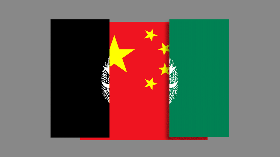 A collage of the Afghan and Chinese flags.