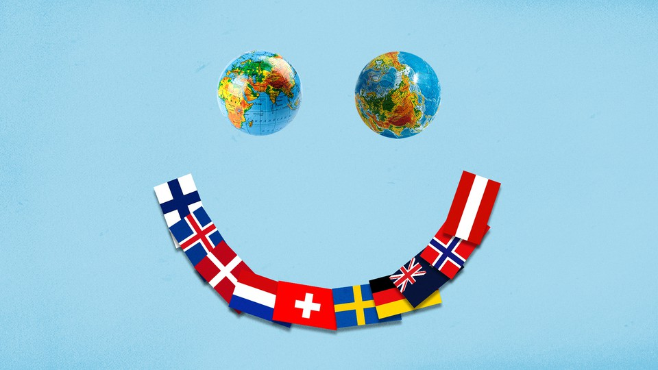 An illustration of a smiley face, with two globes as the eyes and a spread of countries' flags as the mouth