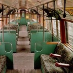 Moquette designed by Joy Jarvis on a restored Tube carriage from 1938.