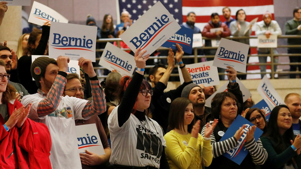 Bernie Sanders supporters at an event in Des Moines, Iowa
