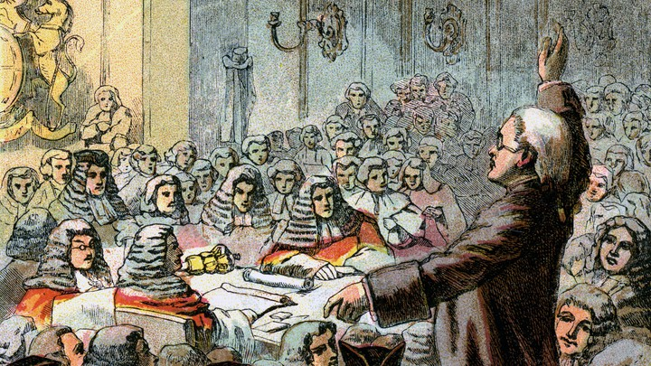 """Color plate of """"Burke, the Great Orator,"""" circa 1850s"""