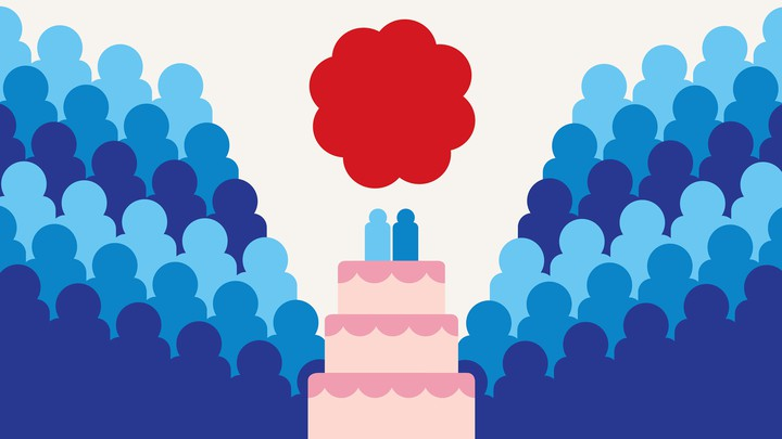 An illustration of a wedding cake with two figurines on it, surrounded by the silhouettes of many more full-size figures