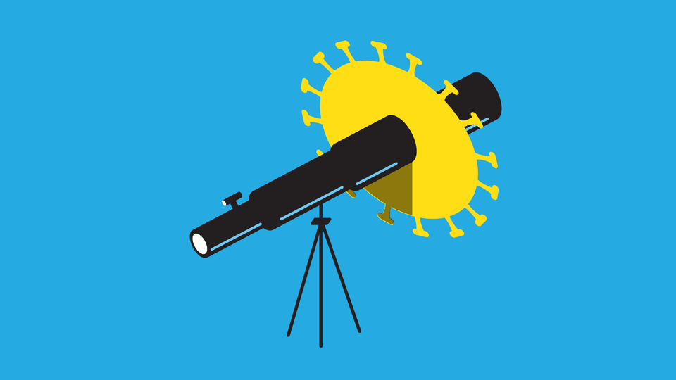 An illustration of a telescope with a coronavirus shape nearby