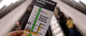 An image from the grand opening of Manhattan's Second Avenue Subway line in 2017. Officials have been criticized for opening it before it extended past East 96th Street, a dividing line that separates one of Manhattan's wealthiest neighborhoods, the Upper East Side, from East Harlem, one of the poorest.