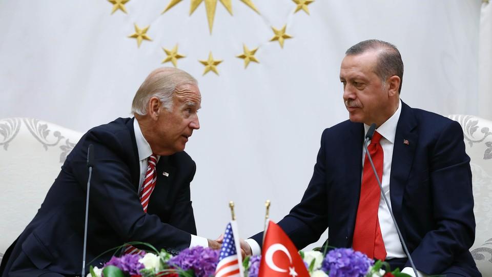 U. S. Vice President Joe Biden and Turkish President Recep Tayyip Erdogan at a meeting in Ankara, Turkey, on Wednesday.
