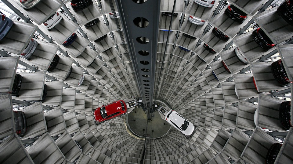 Cars are parked in a huge tower in the the Autostadt visitor attraction in Wolfsburg, Germany.