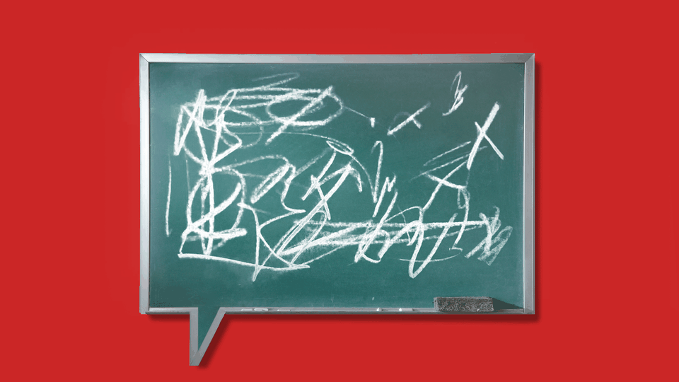 An illustration of a chalkboard with scribbles