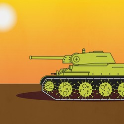 An illustration of a green tank is set against an orange and brown background. Two black birds fly nearby.
