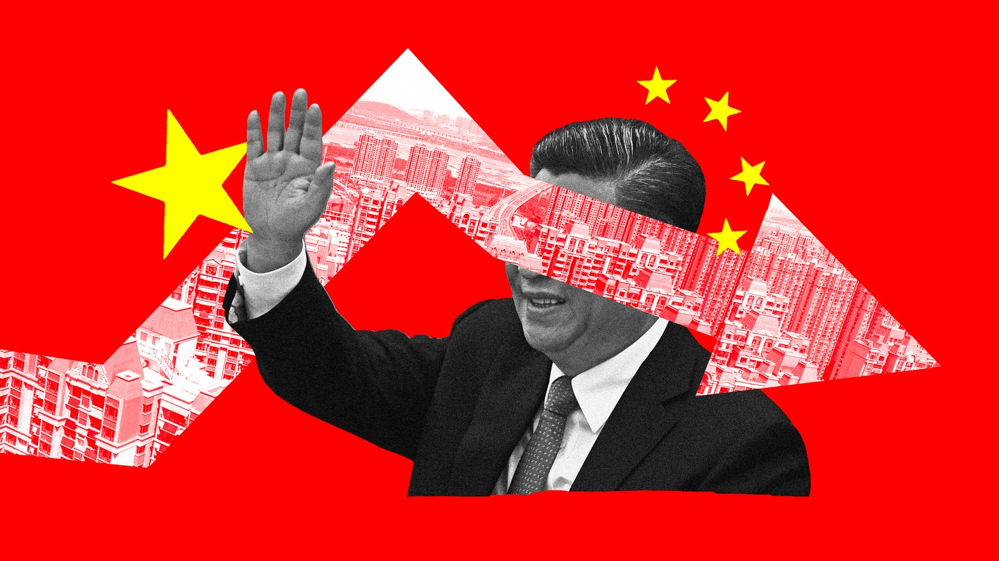 A graphic combining the Chinese flag, Xi Jinping, and images of apartment buildings