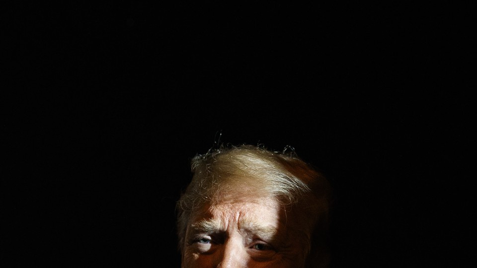 Trump obscured in shadow