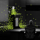 Donald Trump stands at a podium across from Joe Biden, surrounded by green virus particles