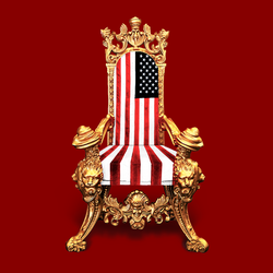A throne with American-flag upholstery