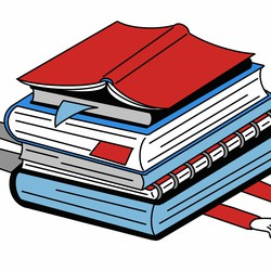 A drawing of a person crushed by a stack of giant books