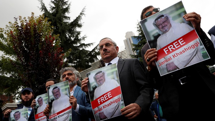 Human-rights activists and friends of the Saudi journalist Jamal Khashoggi protest outside the Saudi consulate in Istanbul, Turkey, on October 8, 2018.