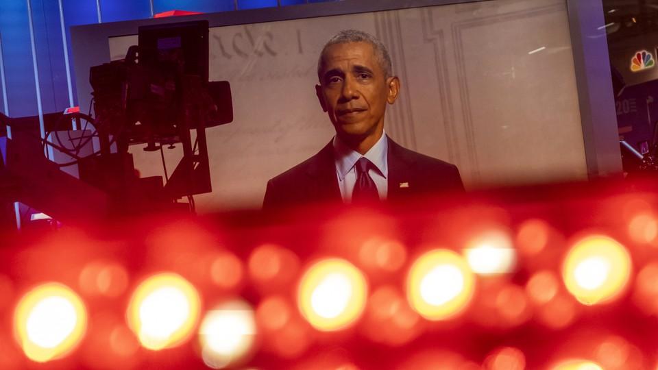 Barack Obama and some television lights