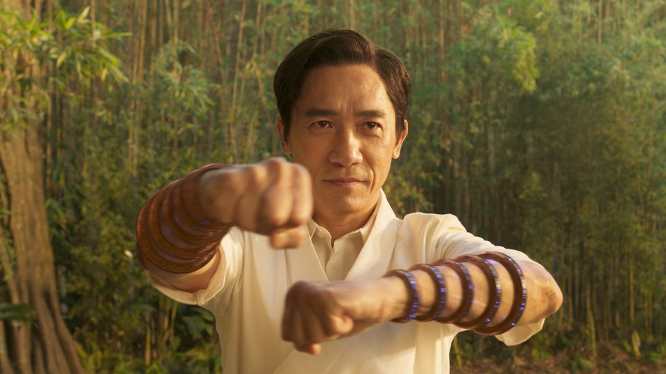 Tony Leung wearing the 10 rings in a bamboo forest