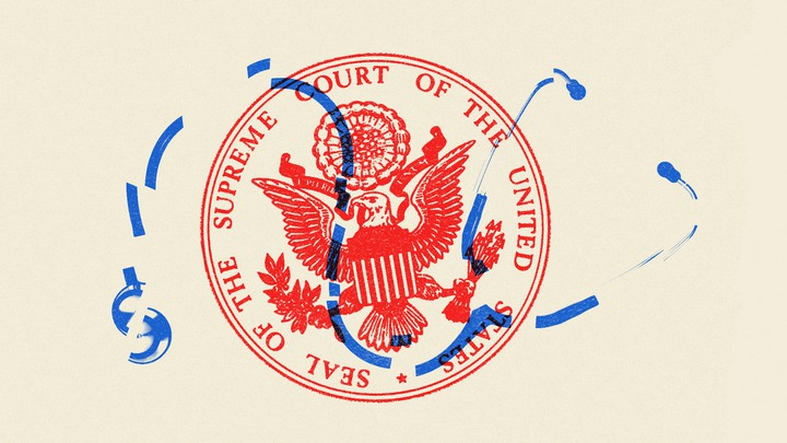 An illustration of the Supreme Court seal, a dollar sign, and a stethoscope
