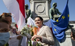 Belarusian opposition leader Svetlana Tikhanovskaya at a protest on the Place du Luxembourg in front of the European Parliament.