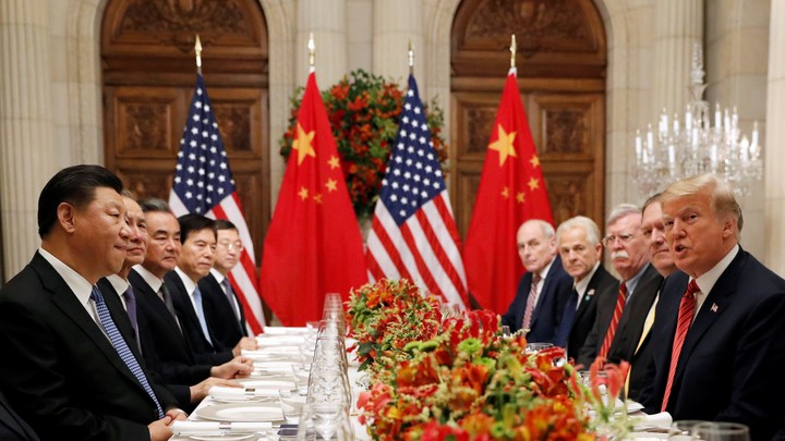 Donald Trump, Secretary of State Mike Pompeo, and National-Security Adviser John Bolton meet with Xi Jinping at the G20 summit in December.