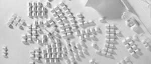 An overhead shot of a 3-D model of part of Kuwait