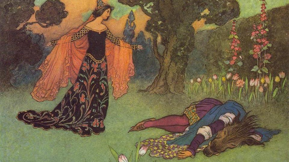 An illustration by Warwick Goble for Beauty and the Beast, 1913
