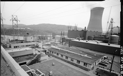Black-and-white photo of the Shippingport Atomic Power Station