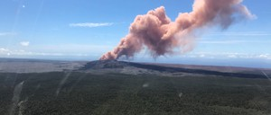 A plume of ash rises from Kilauea Volcano on May 3, 2018.