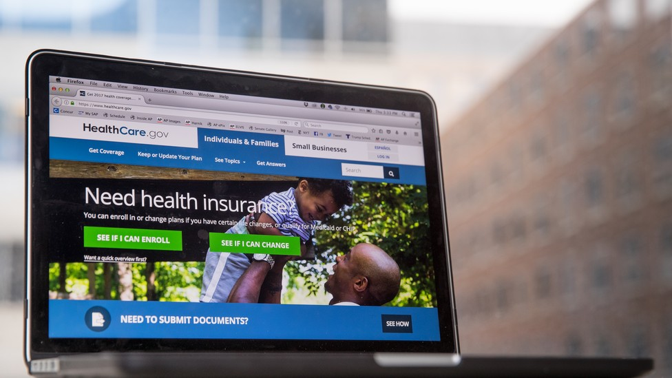 A laptop screen showing the HealthCare.gov website