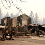 The charred remnants of a building in Paradise, California, destroyed by the Camp Fire.