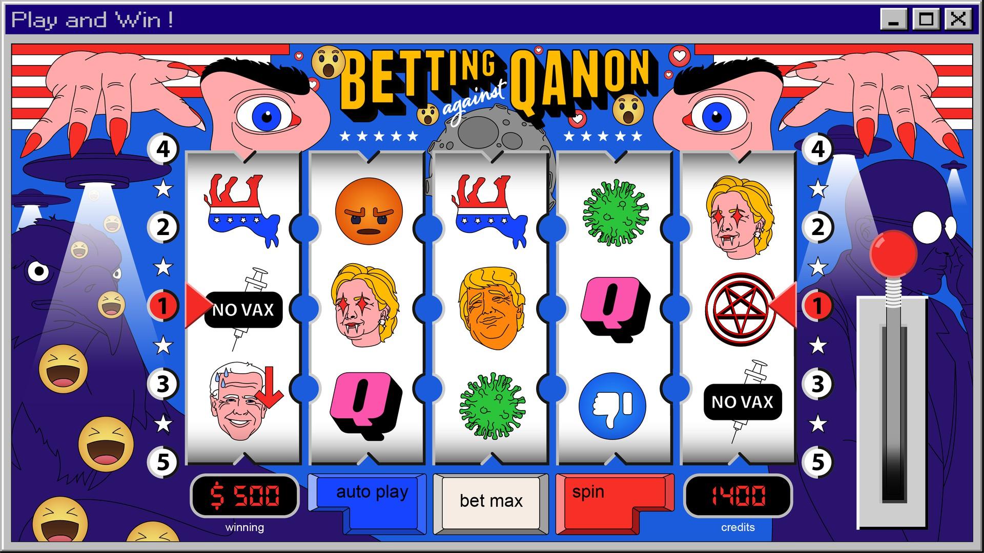 illustration of Q anon slot poker game