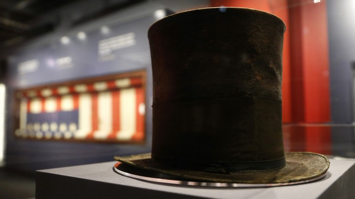 Abraham Lincoln's iconic silk top hat, which he was wearing the night he was assassinated, on display at Ford's Theatre in Washington, D.C.