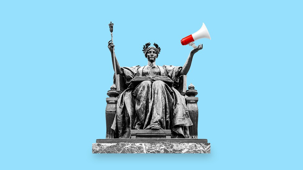 An illustration of a Lady Liberty statue with a megaphone in hand