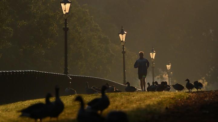 A man runs through London's Hyde Park early in the morning.