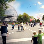 A rendering of families walking in a wooded park with a geodesic dome