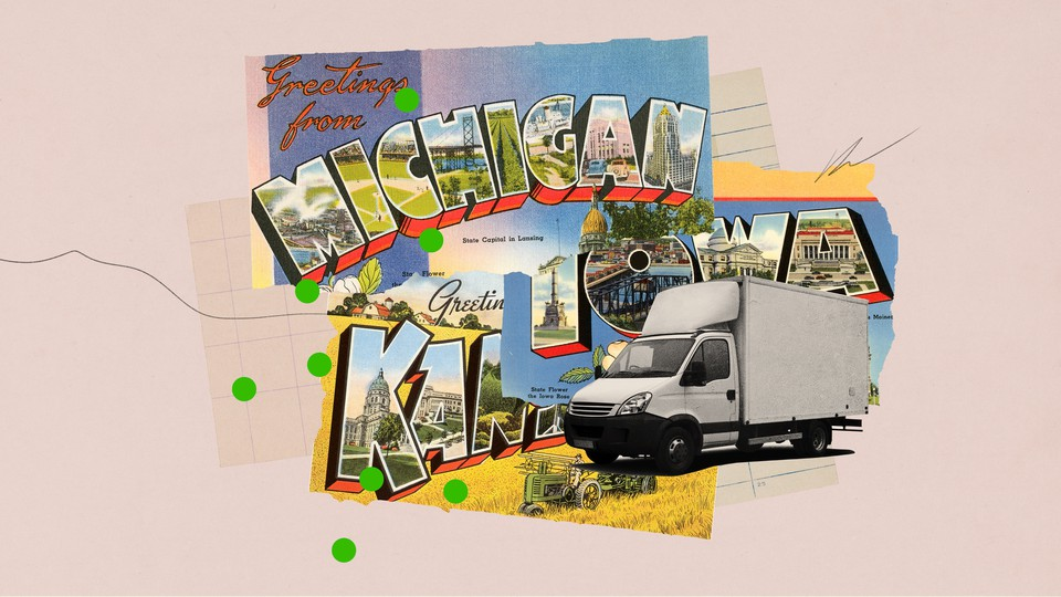 """A graphic of a """"Greetings From Michigan"""" postcard and a moving truck"""