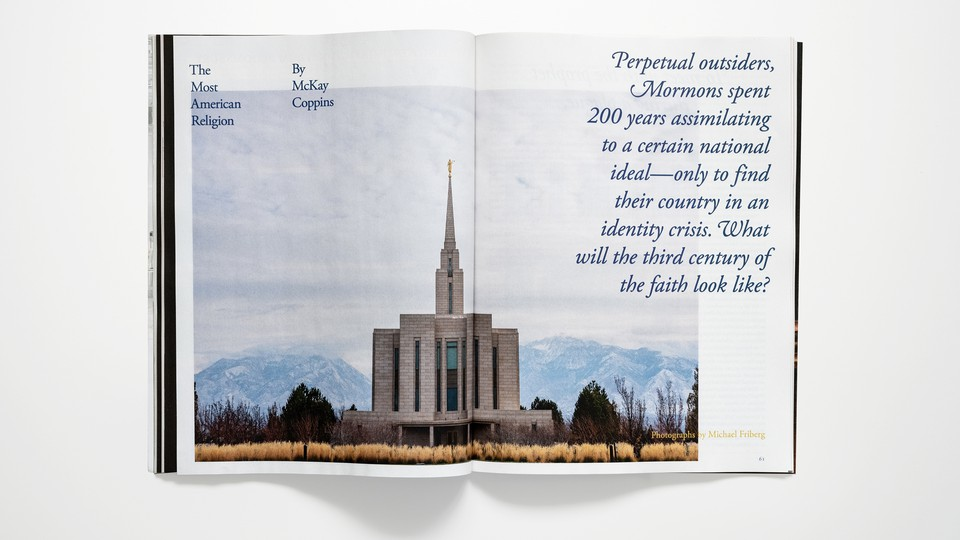 """photo of magazine opened to article """"The Most American Religion"""""""