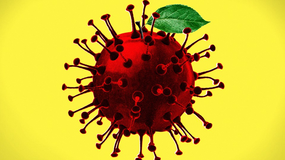 A closeup of the coronavirus with a leaf sticking out the top, like an apple