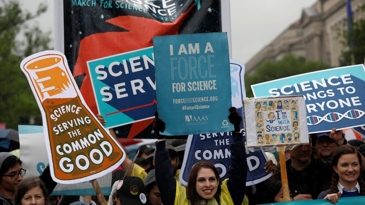 Demonstrators march to the U.S. Capitol during the March for Science in Washington.