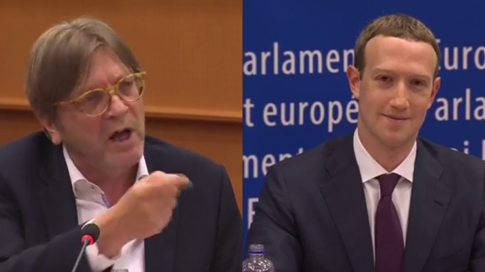 European Parliamentarian Guy Verhofstadt and Mark Zuckerberg during a hearing Tuesday in Brussels