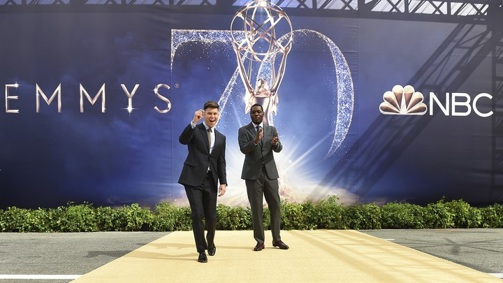 The Emmys hosts, Colin Jost and Michael Che